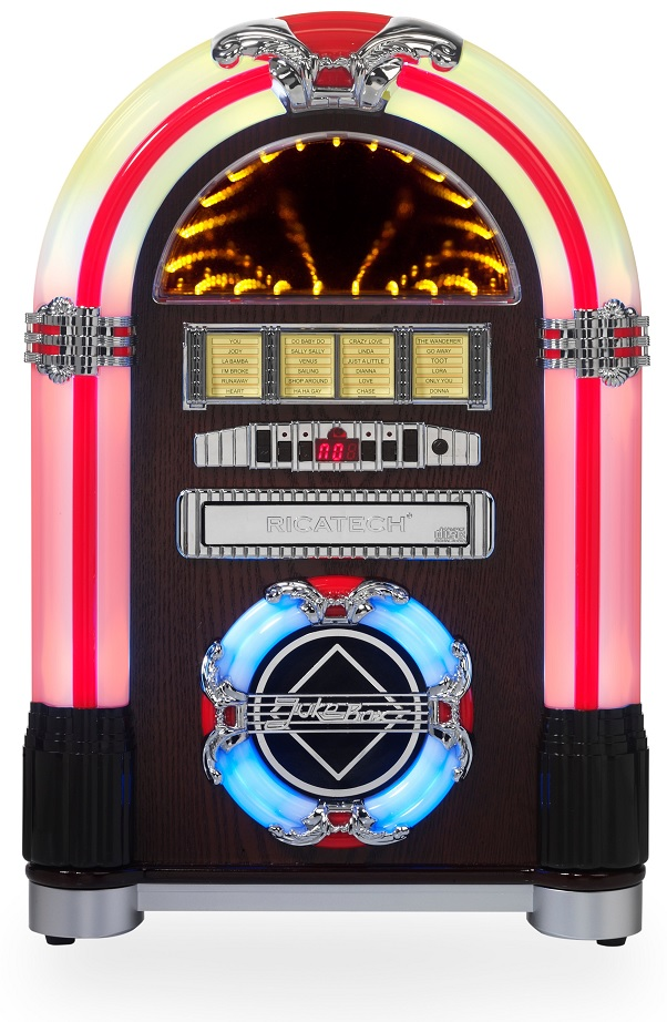 Jukebox 2x 2W AM/FM LEDs RGB c/ Leitor CD/USB/SD - RICATECH