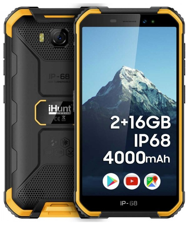 Smartphone 5 2/16GB IP68 Dual SIM Android 9 (Preto/Amarelo) - iHunt S10 Tank 2020