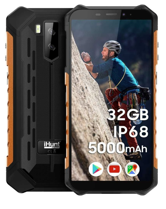 Smartphone 5.5 2/32GB IP68 Dual SIM Android 9 (Preto/Amarelo) - iHunt S10 Tank PRO 2020