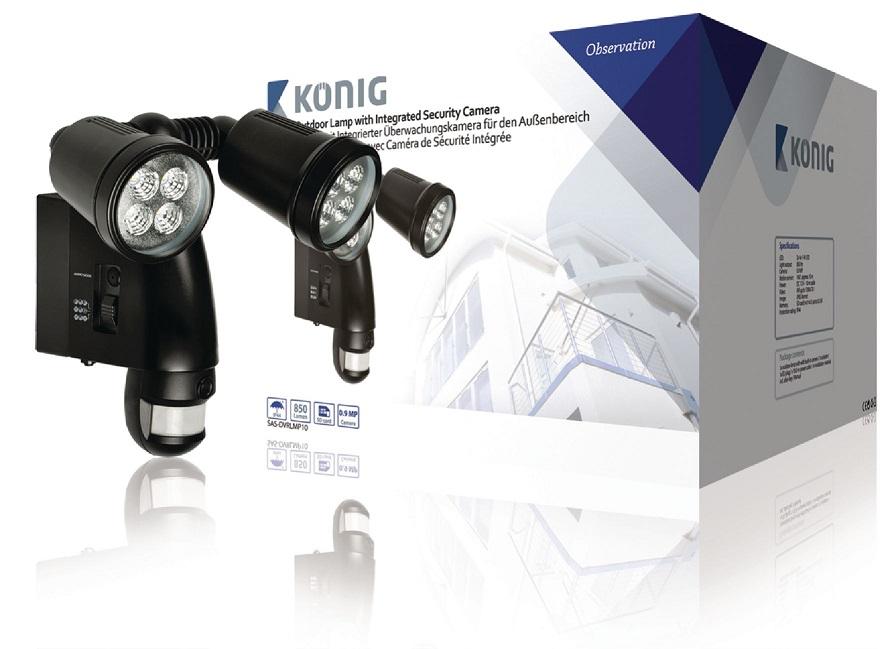 Iluminação Exterior em LED c/ Camara e Sensor Movimento Ocultos - Konig