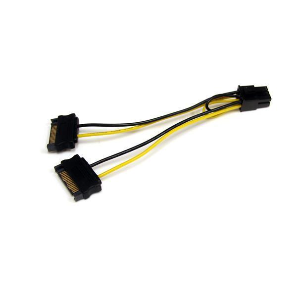 Cabo de Alimentação SATA 15 PIN Macho - PCI-E 6 PIN Macho (15 cm) - STARTECH