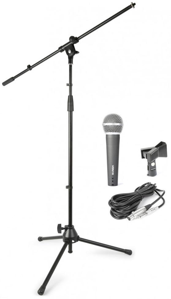 Pack Microfone c/ Cabo 5 mts, Tripé, Suporte e Bolsa Transporte - VONYX