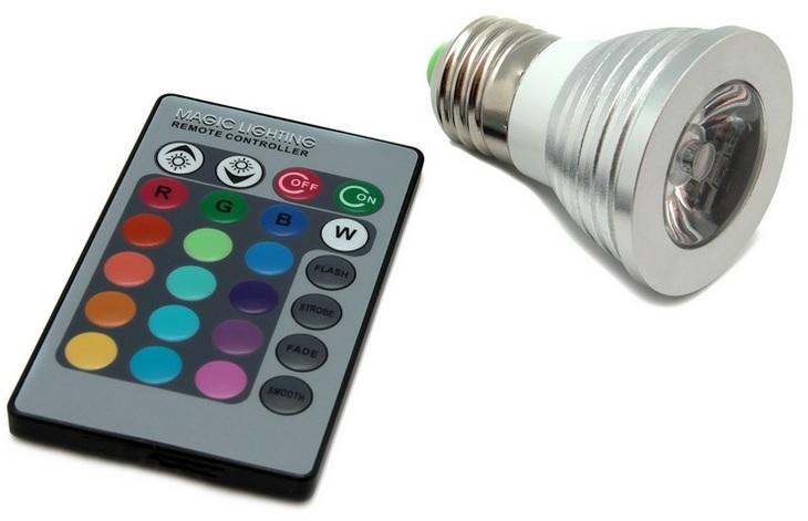 Lampada LED Aluminio Fôsca 220V E27 1x3W RGB 60º c/ Comando