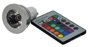 Lampada LED Aluminio 220V GU10 3W Multicor c/ Comando