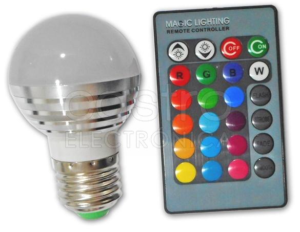 Lampada LED G45 220V E27 RGB 3W c/ Comando - ProFTC