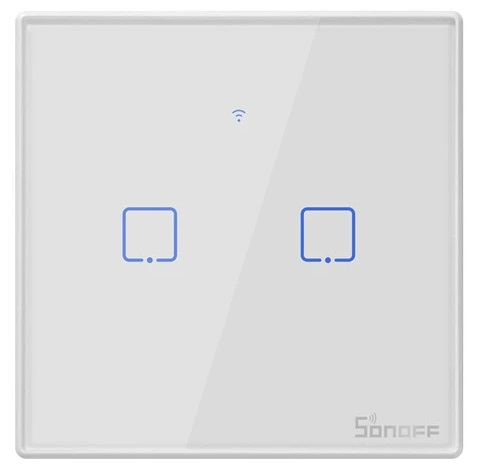 Interruptor de Parede Táctil Duplo Wi-Fi Remoto - Sonoff T2EU2C-TX