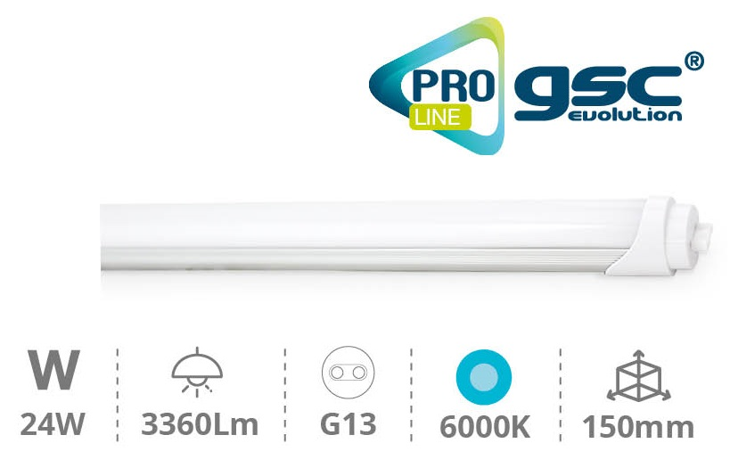 Tubo de LEDs T8 Opalino 220V 24W 6000K 3360Lm (1,50 mts) - PRO LINE