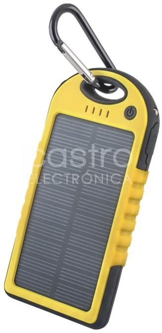 Banco Portatil de Energia (POWER BANK) Solar USB 5V 5000mAh c/ Lanterna LED (Amarelo)