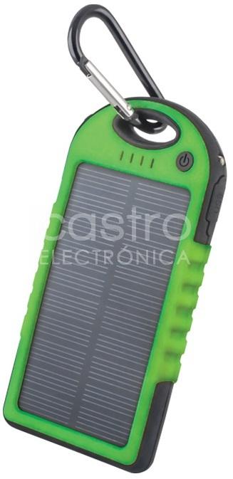 Banco Portatil de Energia (POWER BANK) Solar USB 5V 5000mAh c/ Lanterna LED (Verde)