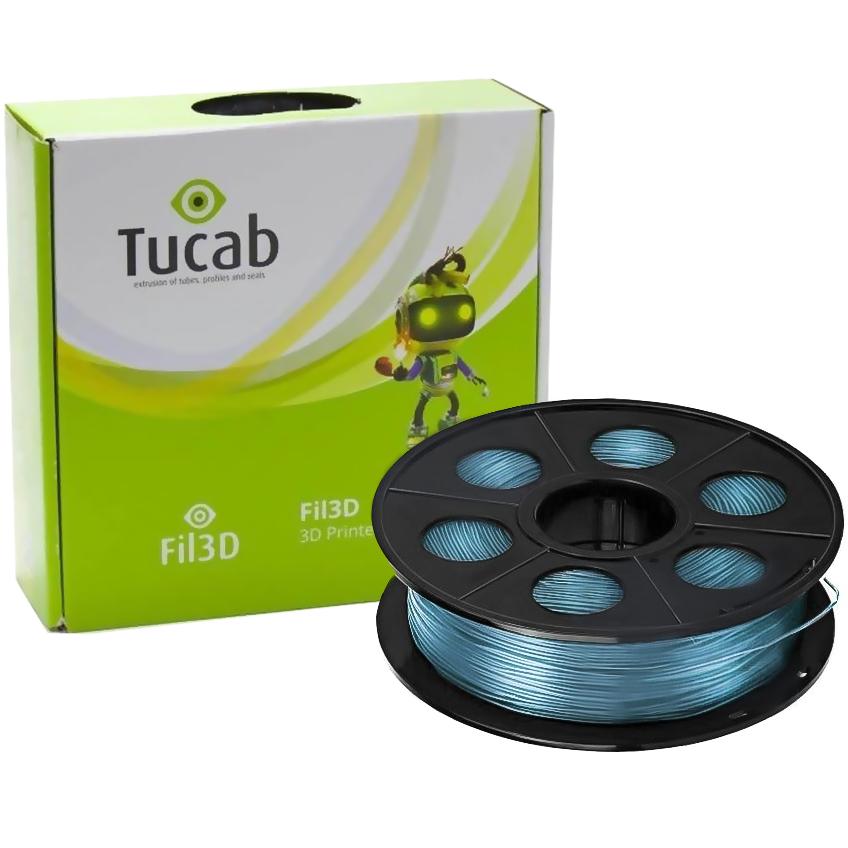Filamento de Impressão 3D em PETG 1,75mm 1Kg (Azul Translúcido) - TUCAB