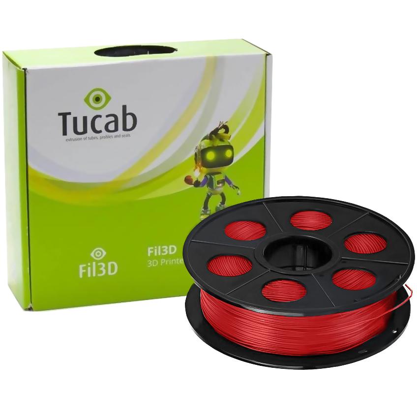 Filamento de Impressão 3D em PETG 1,75mm 1Kg (Vermelho Translúcido) - TUCAB
