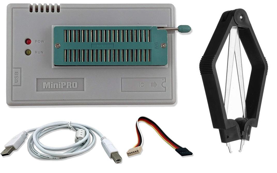 Programador Universal USB de ICs c/ 5 Adaptadores - Minipro TL866II PLUS