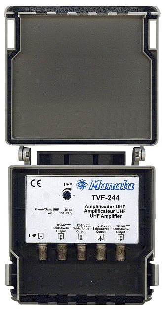 Amplificador TDT Canal 21/69 (25 dB) 4 Saídas c/ LTE - MANATA
