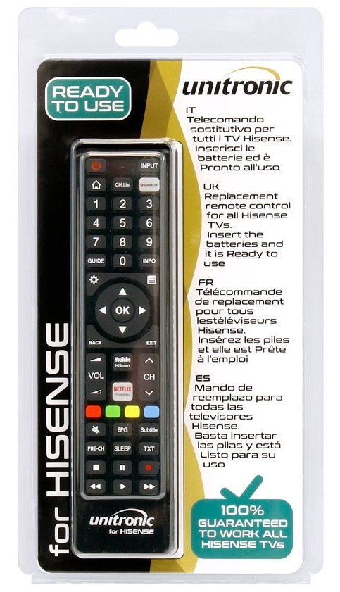 Comando Universal Dedicado p/ TVs LCD HISENSE - UNITRONIC