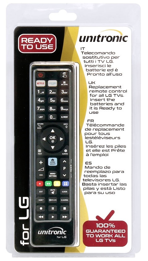 Comando Universal Dedicado p/ TVs LCD LG - UNITRONIC