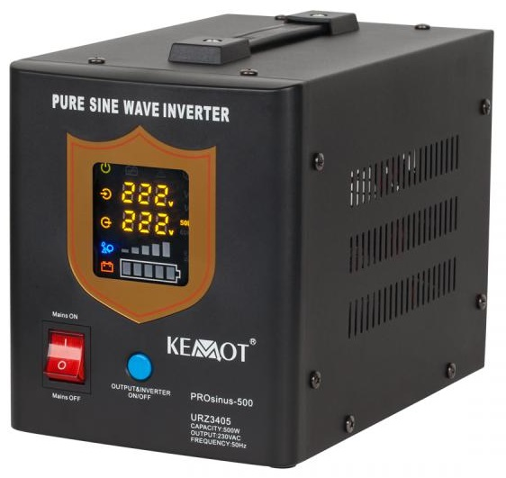 Conversor 12V -> 220V 500W (ONDA PURA) Estabilizador Tensão c/ Função Carregamento Bateria (Preto)
