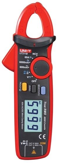 Pinça Amperímétrica Digital True RMS AC/DC 600mA/6000mA/60A  AC/DC 600V - UNI-T
