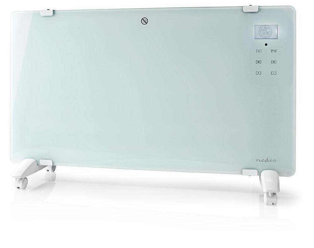 Aquecedor Convecção Inteligente Wi-Fi 2000W Vidro c/ Comando Chão/Parede SmartLife (Branco) - NEDIS