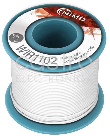 Bobine Fio Rigido Cobre 0,5mm (Branco) p/ Montagens - 25 mts