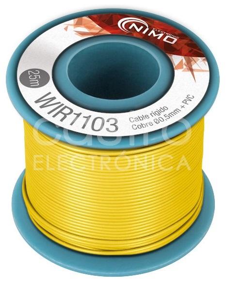 Bobine Fio Rigido Cobre 0,5mm (Amarelo) p/ Montagens - 25 mts