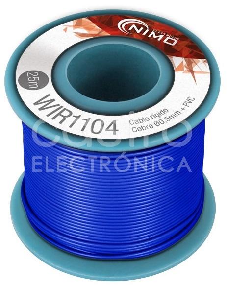 Bobine Fio Rigido Cobre 0,5mm (Azul) p/ Montagens - 25 mts