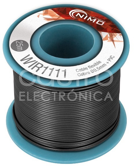 Bobine Fio Flexivel Cobre 0,5mm (Preto) p/ Montagens - 25 mts