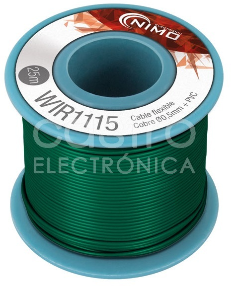 Bobine Fio Flexivel Cobre 0,5mm (Verde) p/ Montagens - 25 mts