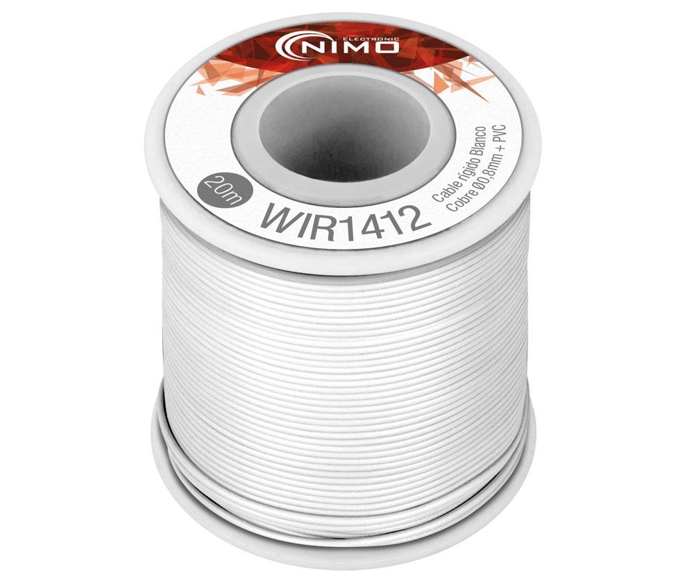 Bobine Fio Rigido Cobre 0,8mm (Branco) p/ Montagens - 20 mts