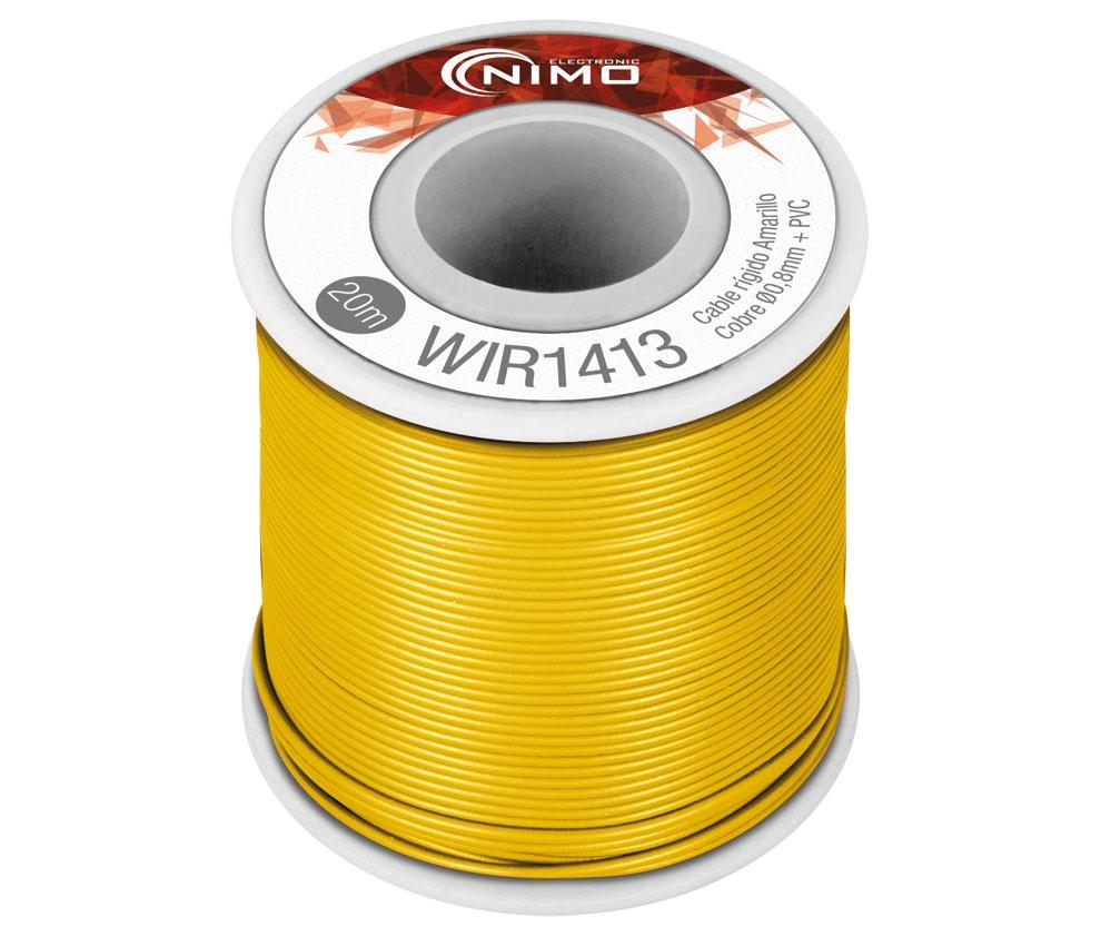 Bobine Fio Rigido Cobre 0,8mm (Amarelo) p/ Montagens - 20 mts