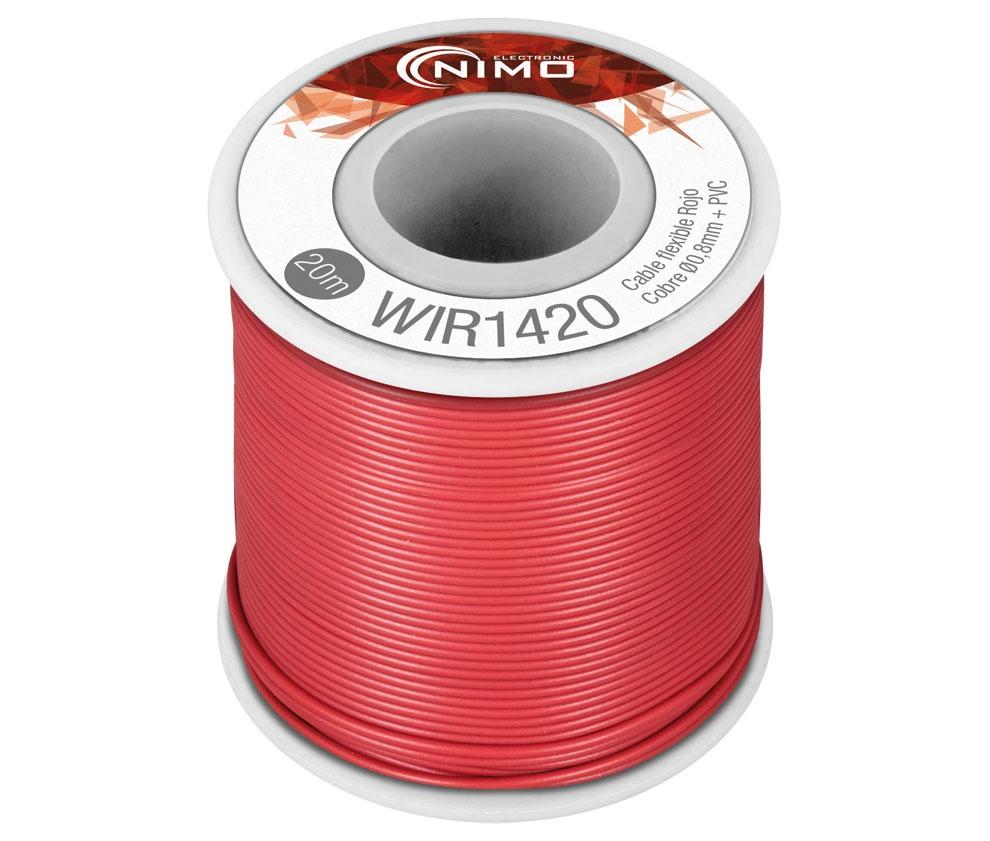 Bobine Fio Flexível Cobre 0,8mm (Vermelho) p/ Montagens - 20 mts