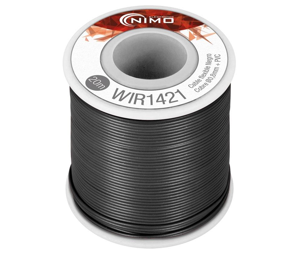 Bobine Fio Flexível Cobre 0,8mm (Preto) p/ Montagens - 20 mts