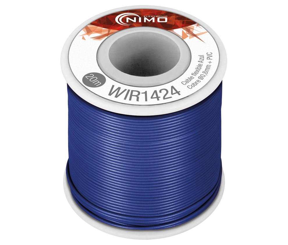 Bobine Fio Flexível Cobre 0,8mm (Azul) p/ Montagens - 20 mts