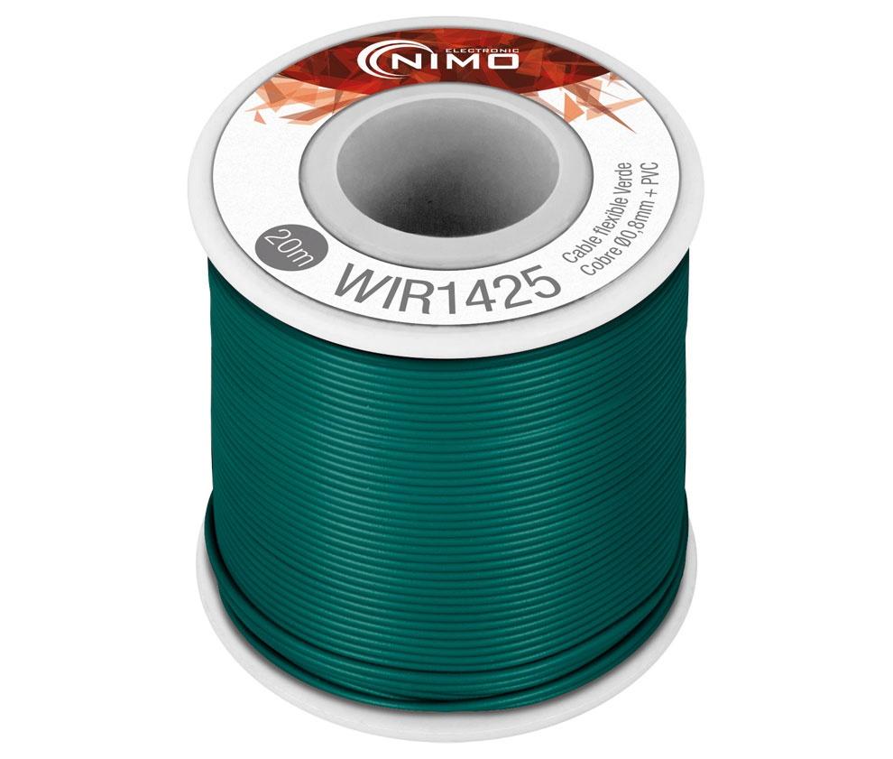 Bobine Fio Flexível Cobre 0,8mm (Verde) p/ Montagens - 20 mts
