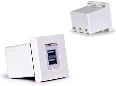 Tomada Carregador 5V 2x USB  p/ 1 Painel Ligação - FONESTAR