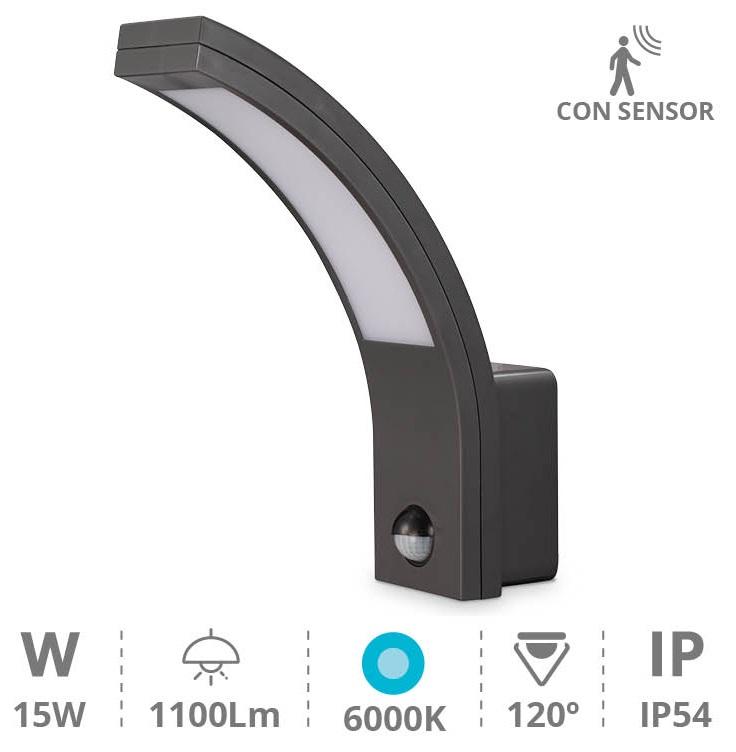 Candeeiro Interior/Exterior LED 15W 6000K 1100Lm c/ Sensor Movimento PIR (IP54) - GSC