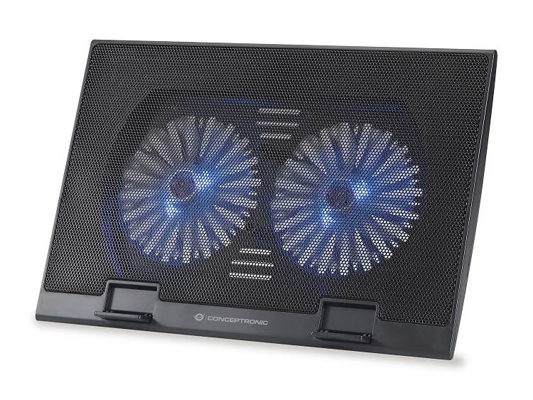 Base Notebook Cooling Pad, Fits up to 15.6\, 2 Fans - THANA 02B - Conceptronic