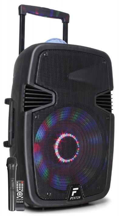 Coluna Amp. Portátil 15 800W BLUETOOTH/USB/SD/MMC/UHF c/ Efeitos Luminosos em LED (FT15JB) - FENTON