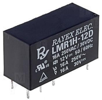 Relé SPDT 12VDC 16A 1 Contacto (29x12,5x15,5mm) - RAYEX LMR1H-12D