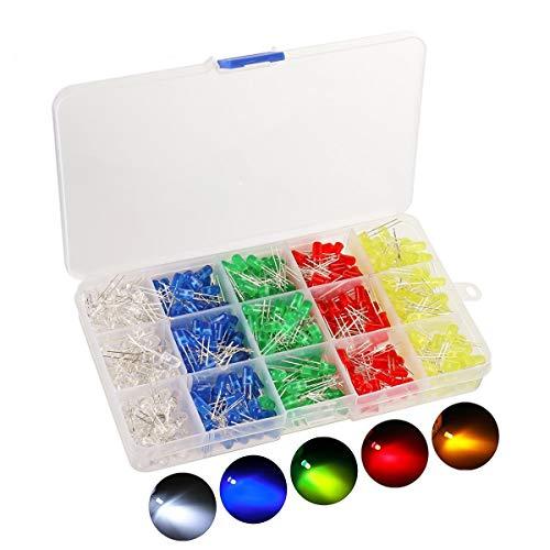 Emb. 1000x LEDs 3mm (Branco, Azul, Verde, Vermelho, Amarelo)