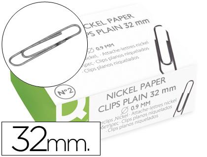 Clips Q-Connect Niquelados Labiado N. 2 - 32 mm Caixa de 100 Unidades