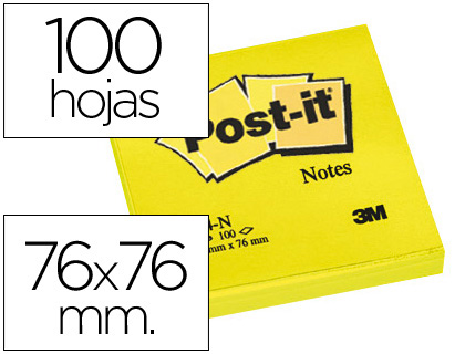 Bloco Notas Adesivas Post-It Amarelo 76 X 76 mm