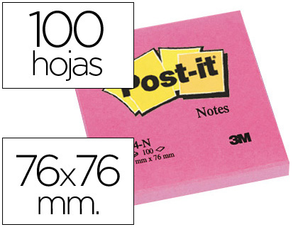 Bloco Notas Adesivas Post-It Fucsia 76 X 76 mm