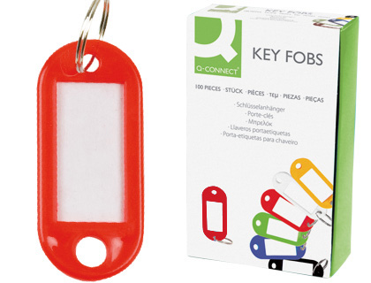 Chaveiro Q-Connect Porta-Etiquetas Vermelho (100 Unidades)