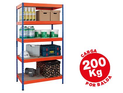 Estante Ar Storage Metalica 180X90X40cm 5 Prateleiras 200Kg Por Prat.Em Madeira Azul/Laranja