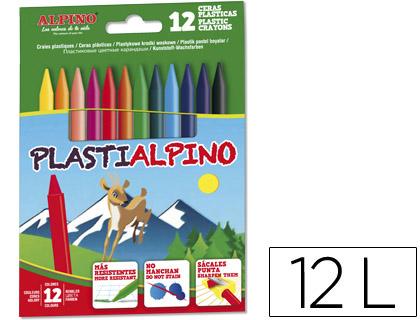 Lápis Cera Plastialpino Caixa de 12 Cores