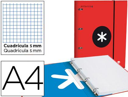 Capa c/ Recarga Antartik A4 Quadricula de 5 mm Forrada 4 Aneis 25mm Cor Vermelho