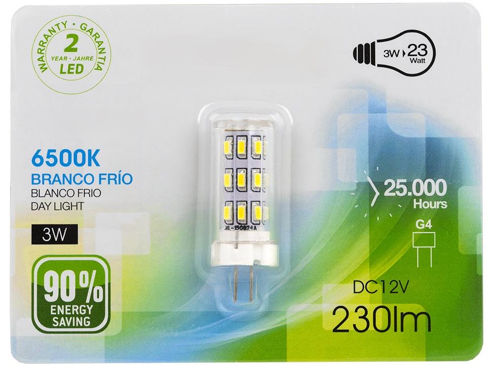 Lampada LED 12V G4 3W Branco F. 6000K 230Lm