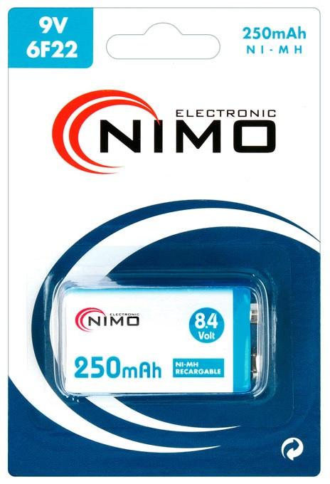 Pilha Recarregavel Ni-Mh 9V 250mAh - NIMO