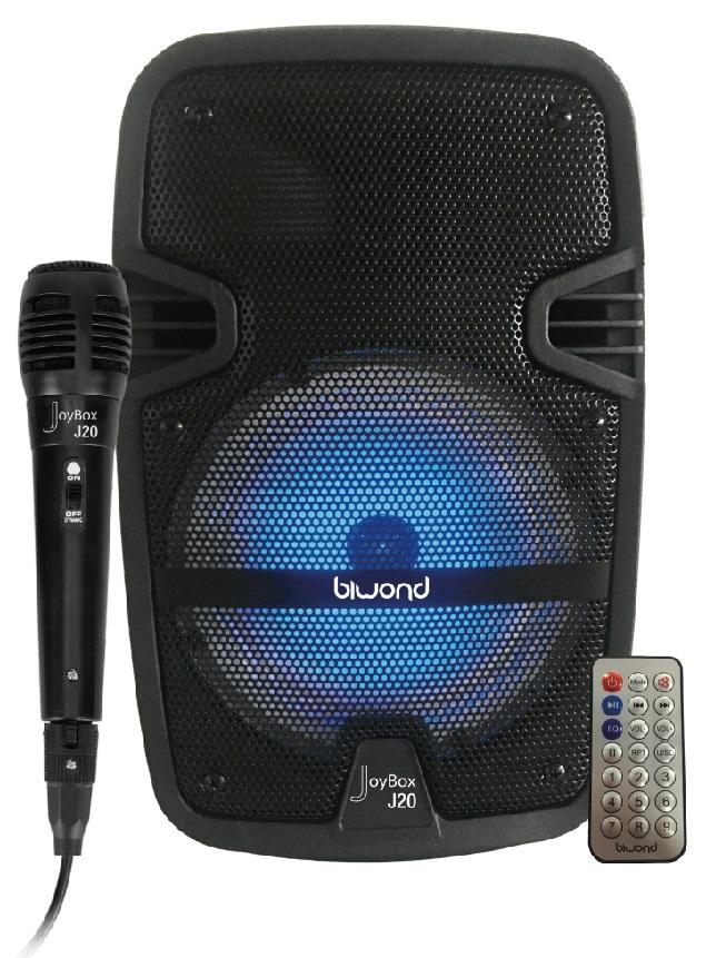 Coluna Amp. Portátil 6,5 150W c/ Efeitos LED USB/SD/MP3/FM/BLUETOOTH - BIWOND JOYBOX J20