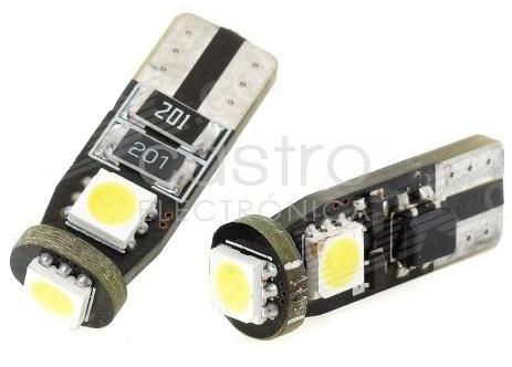 Blister 2x Lampadas T10/W5W 3 LEDs SMD5050 12V Branco 6000K CANBUS